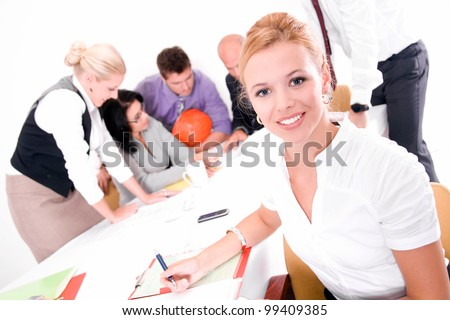 six people in the office, isolated on white - stock photo