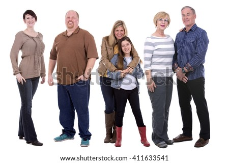 six people wearing casual outfits on white background - stock photo