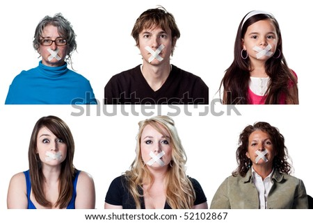 Six people with no voice, silenced voters - stock photo