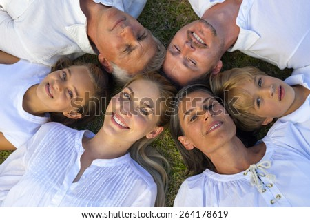 Six person star shaped family portrait on the grass. - stock photo