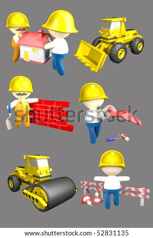 Six persons of builders. 3d illustration - stock photo