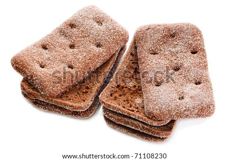 six pieces of black rye bread square isolated on a white background - stock photo