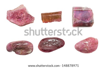 Six pieces of pink tourmaline or rubellite, a semi-precious gemstone used in jewellery and in crystal healing to aid the central nervous system - stock photo