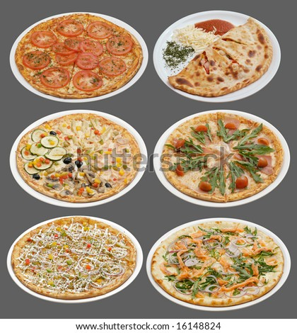 Six pizzas on white plates. Grey background.