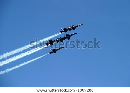 Six-Plane Formation - Blue Angels stunt, Chicago Airshow 2006 - stock photo