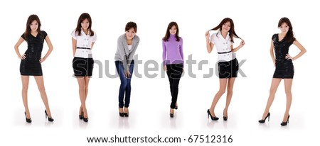 six poses of pretty young teenager girl in 4 different clothes isolated on white - stock photo