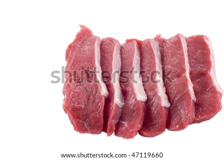 Six raw fillet steaks isolated on white - stock photo