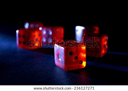Six Red Dices Isolated on Black Background - stock photo