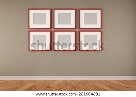 Six red quare picture frames hanging on a wall in a room (3D Rendering) - stock photo