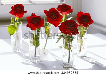 Six red roses in a glass on a window sill - stock photo