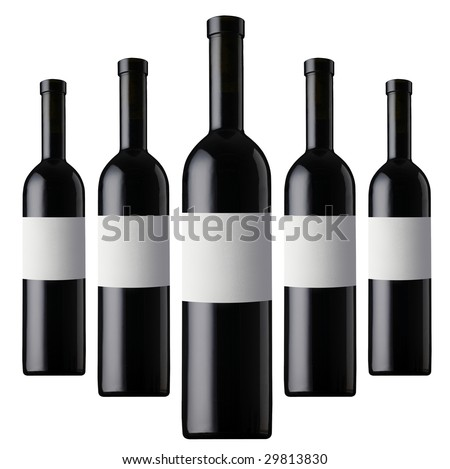 six red wine bottles - stock photo