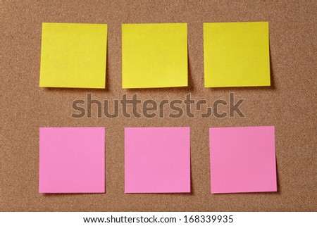 six reminder sticky notes on cork board, empty space for text