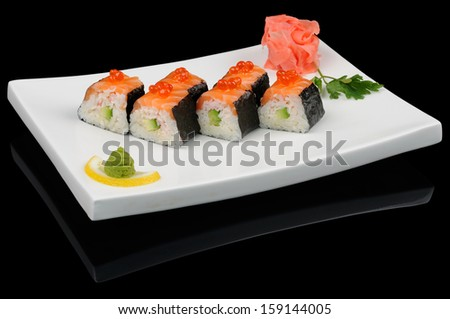 Six rolls with salmon and red salmon caviar
