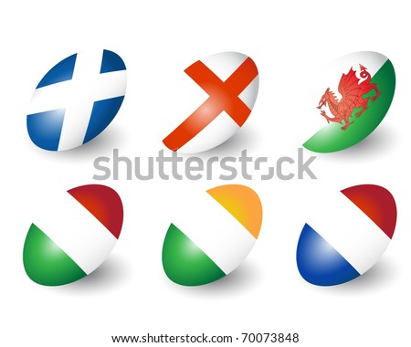 Six rugby balls representing the nations of England, Scotland, Wales, Ireland, France & Italy. Also available in vector format. - stock photo