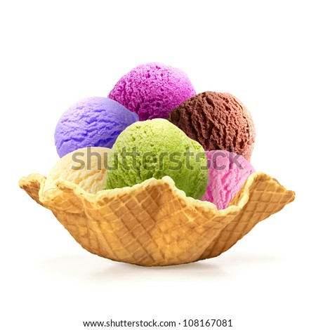 Six scoops of ice cream in wafer bowl on white background - stock photo