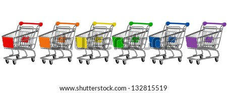 Six shopping carts in rainbow colors in a row - stock photo
