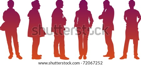 six silhouettes - stock photo