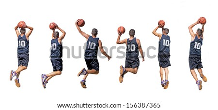 six silhouettes of basketball players - stock photo