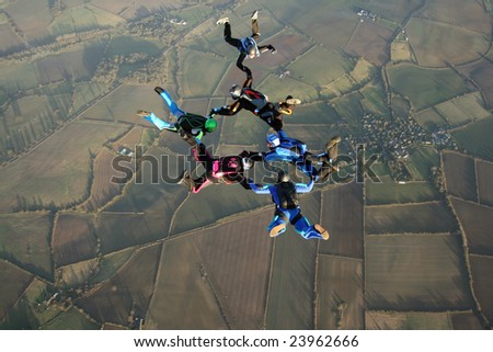 Six Skydivers in freefall - stock photo