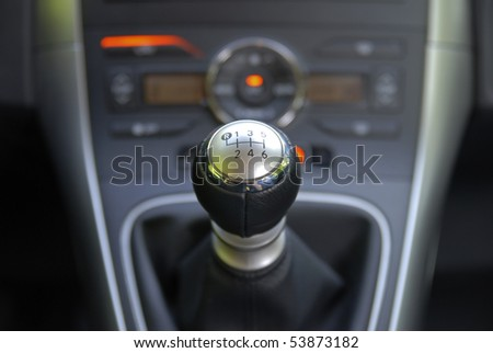 six speed gearbox shifter - stock photo