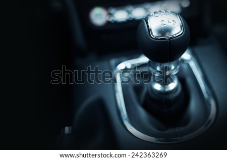 Six Speed Stick Shift Car Transmission. Stick Shift Driving. Modern Car Interior. - stock photo