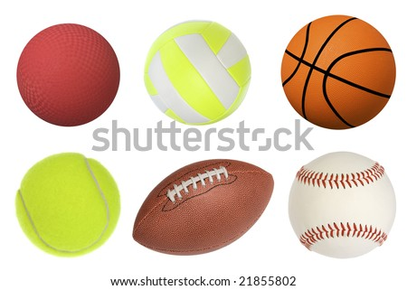 Six sports balls inclusing a dodgeball, volleyball, basketball, tennis ball, football and baseball isolated on white and at full native resolution. - stock photo