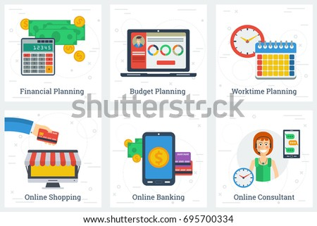 six square business flat concepts of online services and planning process financial worktime and