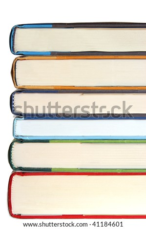 six stacked books with copy space isolated on white - stock photo