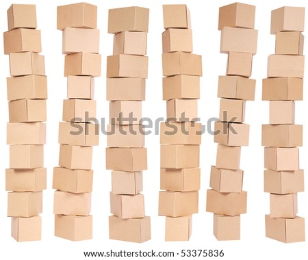 Six stacked  cardboard boxes on white background