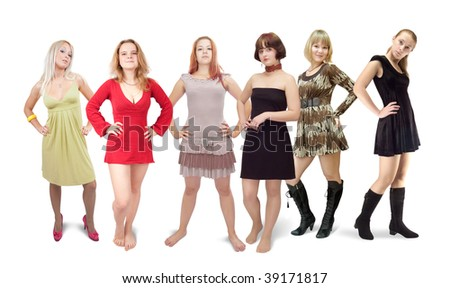 Six standing girls in  dress.  Isolated on white