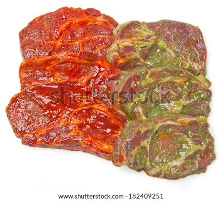 six steaks marinated - stock photo