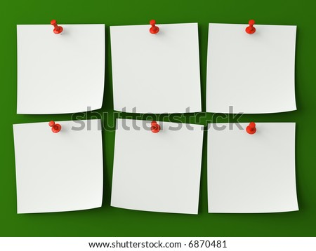 Six sticker notes isolated on the green background - stock photo