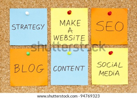 Six sticky notes on an office cork bulletin board about making a website. - stock photo