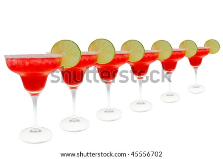 Six strawberry Margarita's in a row. - stock photo