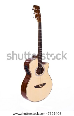 Six string semi-electric guitar isolated over white background
