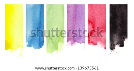 six strips  in watercolor - stock photo