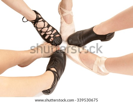 Six Styles of Dance Shoes on Female Feet and Legs