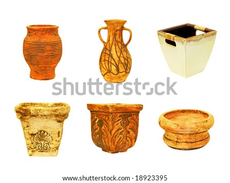 Six terracotta flowers pots isolated on white - stock photo