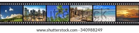 six travel photos in a film strip - stock photo