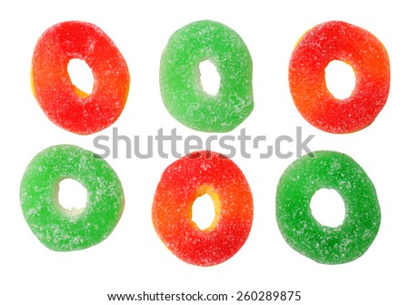 six views gummy candies isolated on white background - stock photo