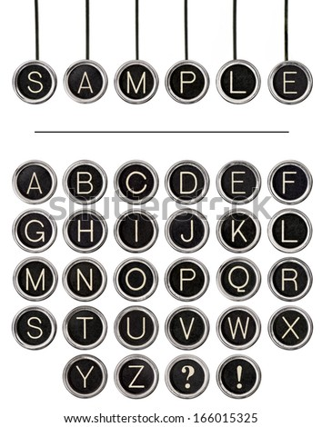 Six vintage typewriter keys, isolated on white, with full alphabet of old keys to create custom words.   - stock photo