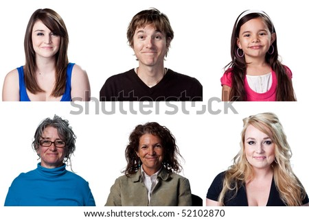 Six warm smiles from these happy actors. All full size - stock photo