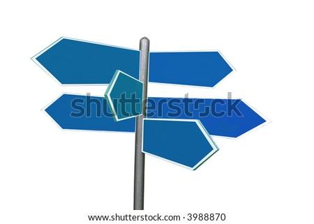 Six-way roadsign isolated over white background - stock photo