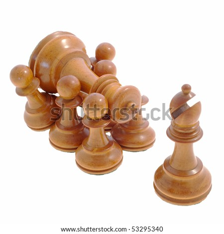 Six white chess pawns carrying the white king preceded by the bishop against a white background - stock photo
