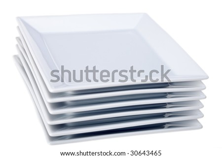 six white square plates isolated on white