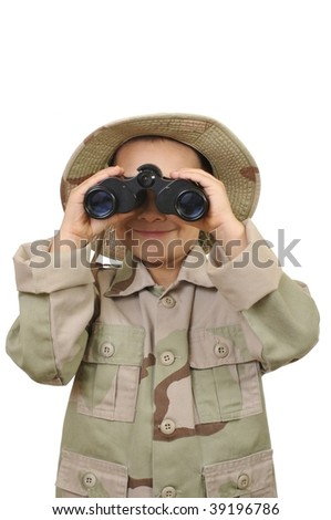 six-year-old boy in a desert camouflage uniform looking through binoculars, isolated on white - stock photo