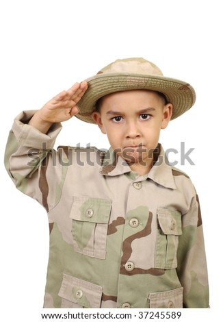 six-year-old boy in brown camouflage uniform saluting, isolated on white background - stock photo