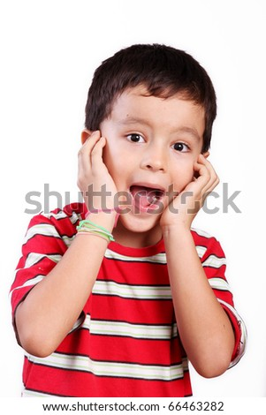 Six  year old child expressing surprise over white background