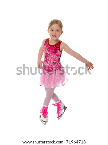 Six year old figure skater or ice dancer active in a winter sport