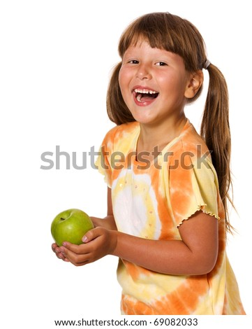 Six years Girl holding apple isolated on white - stock photo